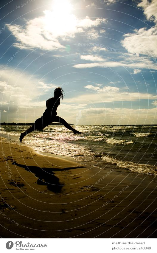 Human being Sky Nature Youth (Young adults) Water Summer Beach Clouds Environment Landscape Happy Jump Coast Style Horizon Waves