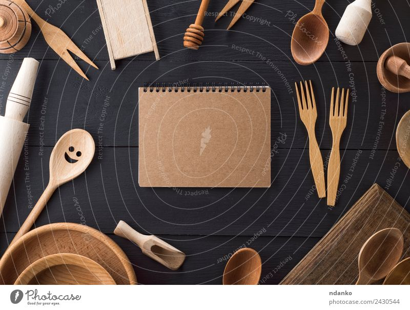 wooden kitchen items Crockery Plate Cutlery Fork Spoon Table Kitchen Paper Wood Above Retro Brown Black White Tradition sheet notebook Blank utensil Household