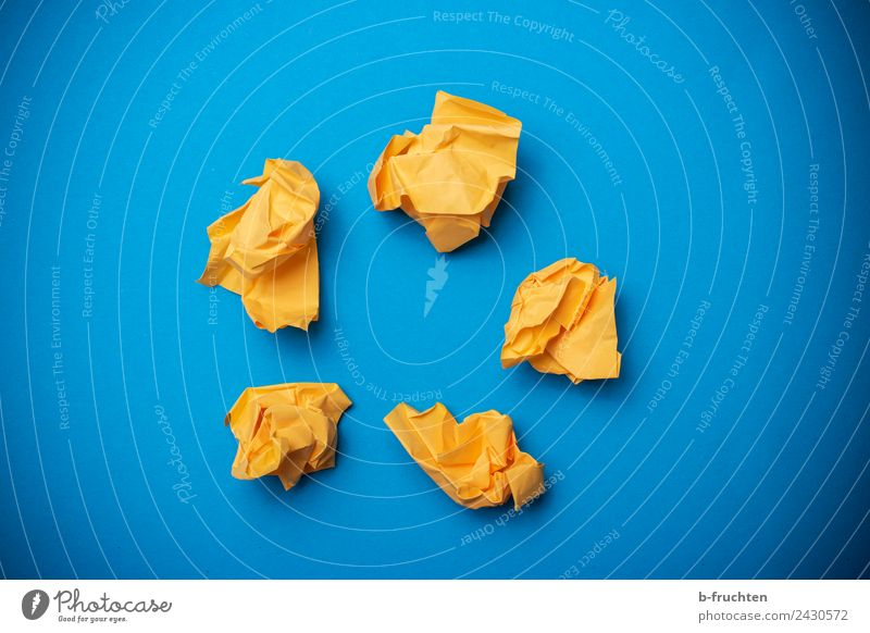 yellow paper balls on blue background Office work Workplace Paper Piece of paper Sphere Blue Yellow Relationship Business Idea Innovative Inspiration Network