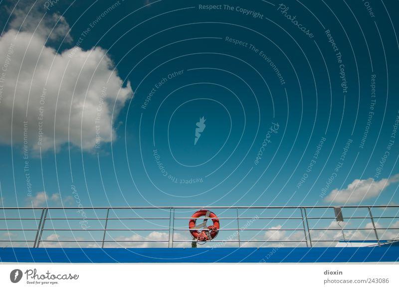 Sky Vacation & Travel Clouds Watercraft Weather Tourism Navigation Beautiful weather Cruise Life belt Railing Passenger ship Cruise liner Inland navigation