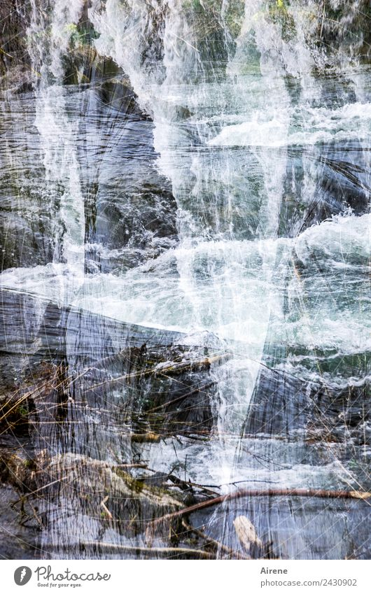 Fall.brook Landscape Water Brook Waterfall Mountain stream Ornament Checkered Vertical Crossed Double exposure Jump Gigantic Wild Blue White Hissing Plummeting