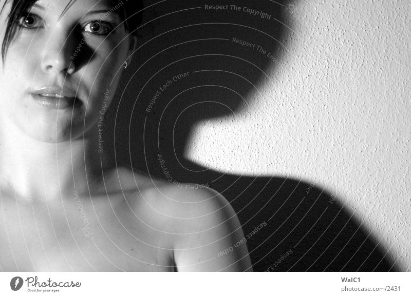 The shadow side Woman Underwear Lascivious Black White Portrait photograph Lady Black & white photo erotic. erotic. Breasts décolleté Neck Face Looking