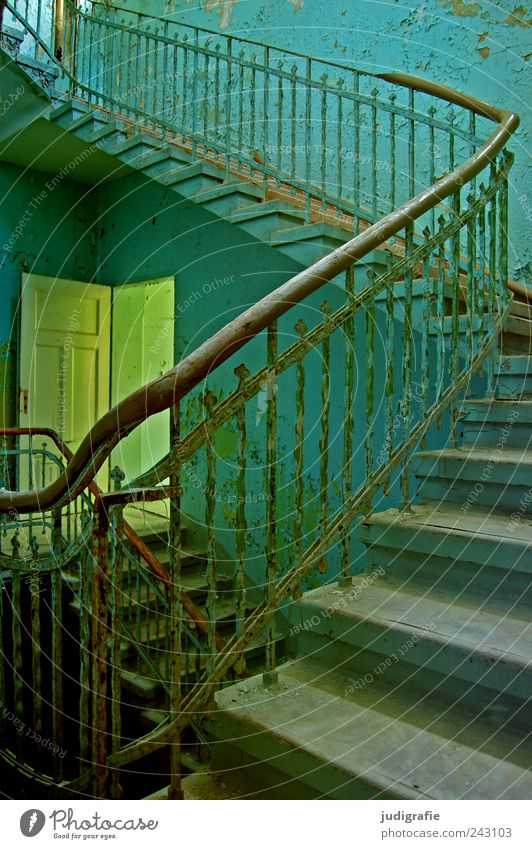 sanatorium House (Residential Structure) Wall (barrier) Wall (building) Stairs Door Creepy Blue Moody Transience Change Sanitarium Handrail Colour photo