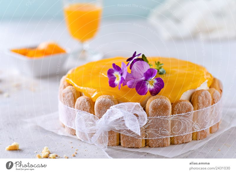 Passion fruit and peach cake Cake Gateau Baking Maracuja Peach Orange Summer Refreshment Baked goods Dessert ladyfinger biscuit Sweet Bakery shop confectionery