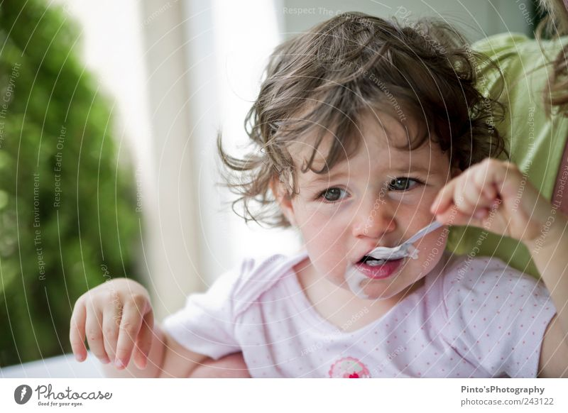 Human being Child Girl Eating Infancy Toddler Joie de vivre (Vitality) Yoghurt 1 - 3 years