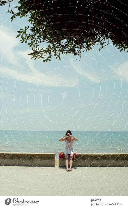 Human being Woman Sky Nature Youth (Young adults) Vacation & Travel Summer Ocean Joy Clouds Adults Environment Landscape Emotions Coast Weather