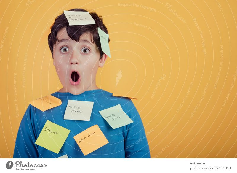 Portrait of kid with note papers stuck on body Lifestyle Parenting Education Child Human being Masculine Toddler Boy (child) Infancy 1 8 - 13 years Stationery