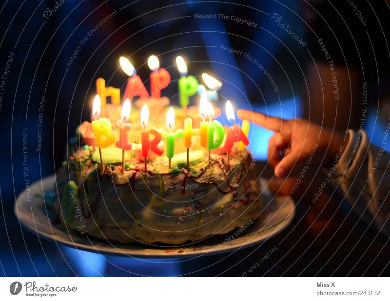 Human being Child Hand Nutrition Feasts & Celebrations Food Birthday Fingers Sweet Candle Decoration Hot Infancy Illuminate Cake Delicious