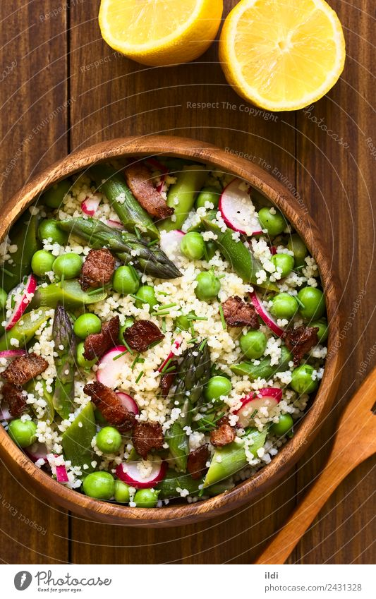 Couscous Asparagus Pea Radish Bacon Salad Dish Fresh Vegetable Dinner Meal Slice Lunch Lemon Vertical Rustic Raw Snack Peas Chives