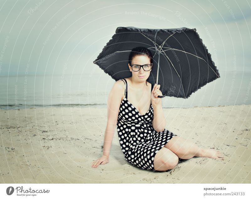 Human being Youth (Young adults) Beautiful Sky Blue Summer Beach Clouds Feminine Fashion Adults Romance Dress Umbrella