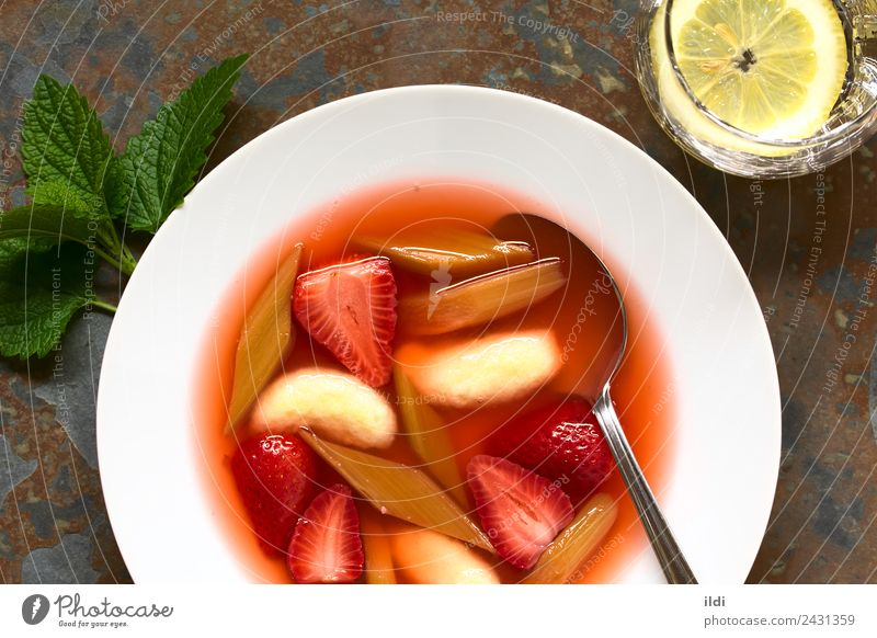 Strawberry and Rhubarb Soup with Semolina Dumplings Fruit Stew Dessert Fresh food Berries cold stewed Compote sweet appetizer Snack healthy Meal Dish overhead