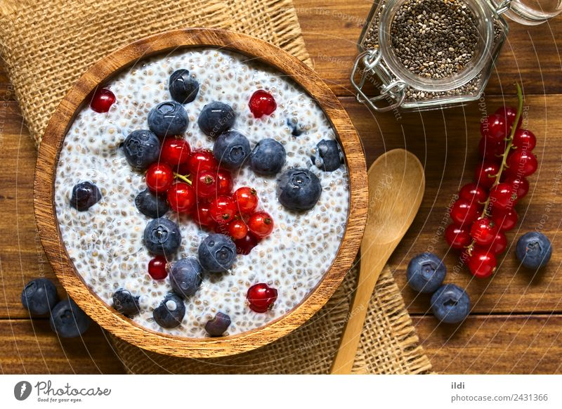 Berry and Chia Pudding Fruit Breakfast Fresh food chia seed Berries Blueberry Redcurrant Raw milk sweet salvia hispanica superfood health healthy Snack brunch