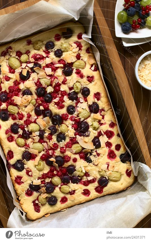 Cake with Berries and Coconut Flakes Fruit Dessert Fresh food sweet Gooseberry Blueberry Redcurrant flake Baking Home-made seasonal Snack brunch overhead