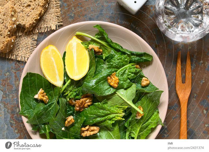 Spinach and Walnut Salad Dish Fresh Vegetable Vegetarian diet Side Lemon Horizontal Vegan diet Raw Snack Wedge