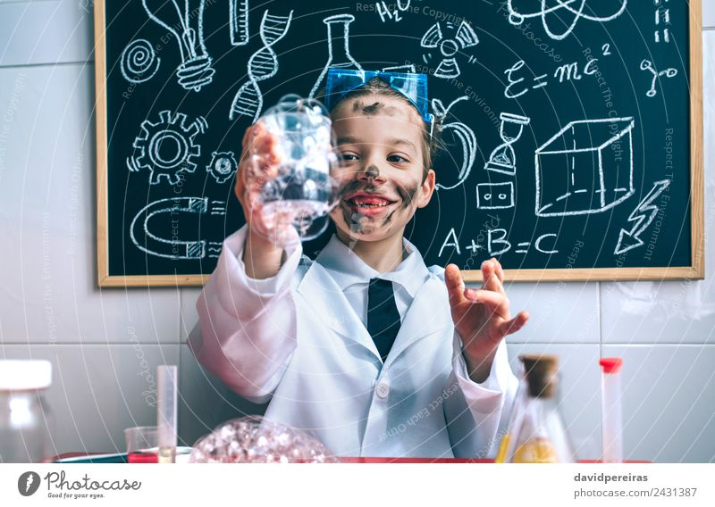 Happy hid holding glass with soap foam Face Playing Flat (apartment) Table Science & Research Child School Classroom Blackboard Laboratory Human being