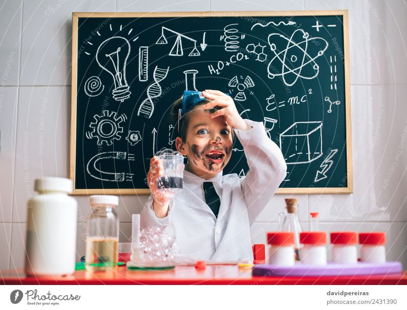 Happy little boy playing with soap experiments Face Playing Flat (apartment) Table Science & Research Child School Classroom Blackboard Laboratory Human being