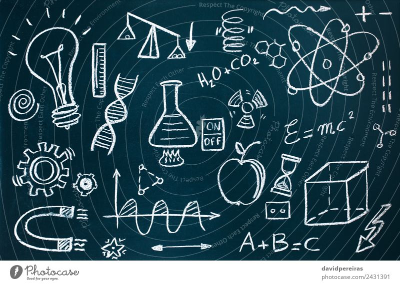 Chemist and mathematical drawings on blackboard background Playing Science & Research School Classroom Blackboard Laboratory Collection Dirty Curiosity