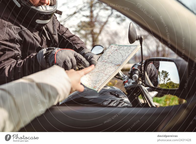 Motorcyclist asking to map direction Vacation & Travel Man Old Hand Tree Black Street Adults Lifestyle Trip Car Transport Retro Authentic Adventure Speed