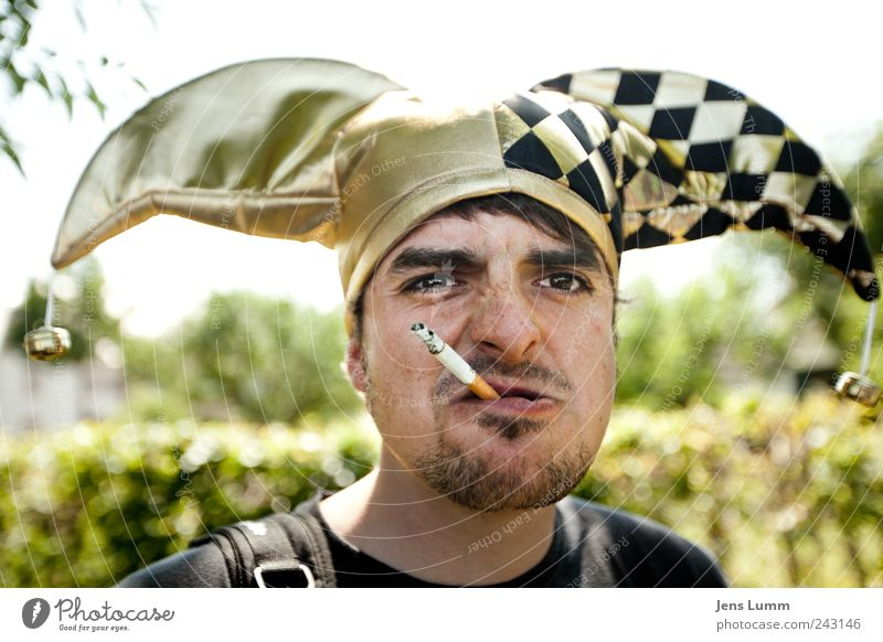 harlequin Masculine 1 Human being Smoking Aggression Carnival Clown Cigarette Colour photo Portrait photograph Looking into the camera
