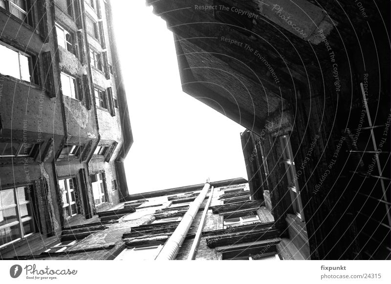 1632-050 Architecture Black & white photo Berlin Interior courtyard Deep Contrast Upward