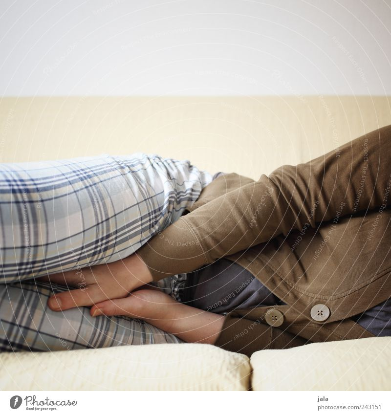 lie there Living or residing Flat (apartment) Sofa Human being Feminine Woman Adults Hand Stomach Legs 1 Lie Sleep Colour photo Interior shot Deserted Day