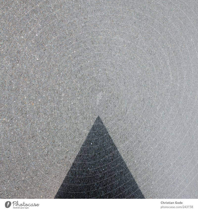 Ratio wedge Stone Gray Abstract Wedge Pyramid Square Shadow play Really Concrete Street Pavement Asphalt Black Geometry Point Structures and shapes