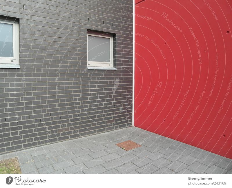 With lawn below left House (Residential Structure) Architecture Wall (barrier) Wall (building) Facade Window Sharp-edged Firm Modern Gloomy Dry Gray Red