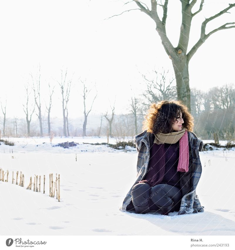 Human being Nature Youth (Young adults) Beautiful Tree Winter Cold Snow Feminine Hair and hairstyles Landscape Ice Contentment Field Adults