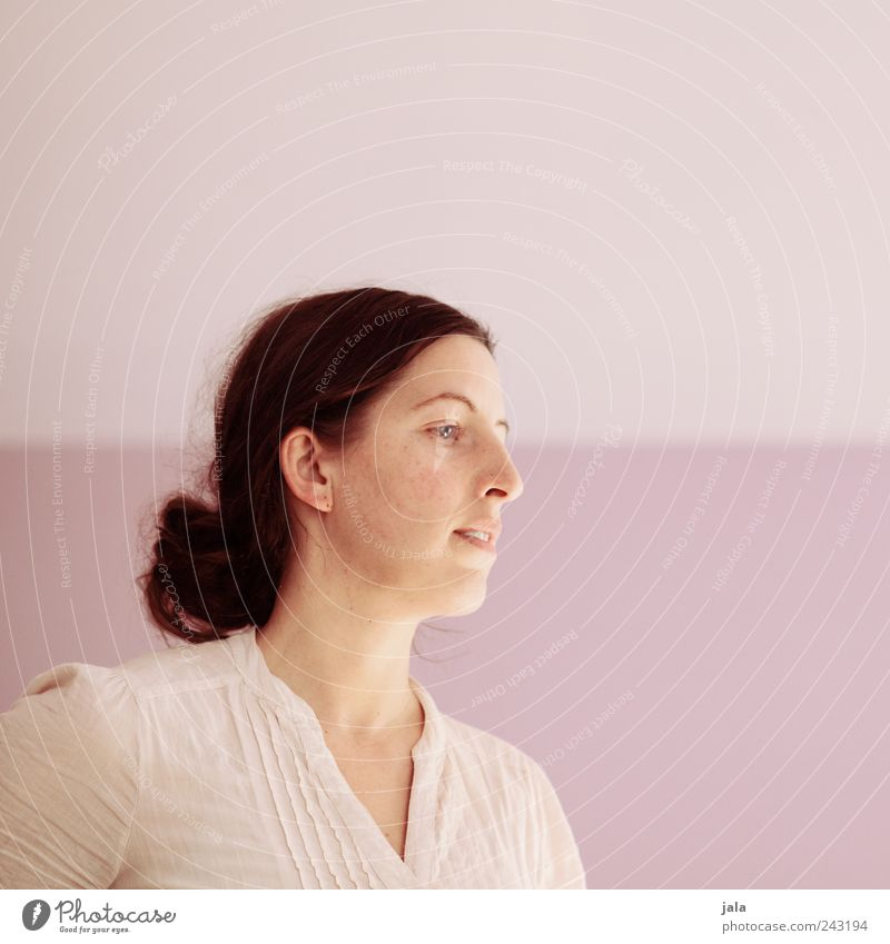 . Human being Woman Adults Head 1 30 - 45 years Hair and hairstyles Long-haired Braids Looking Pink White Colour photo Interior shot Copy Space right