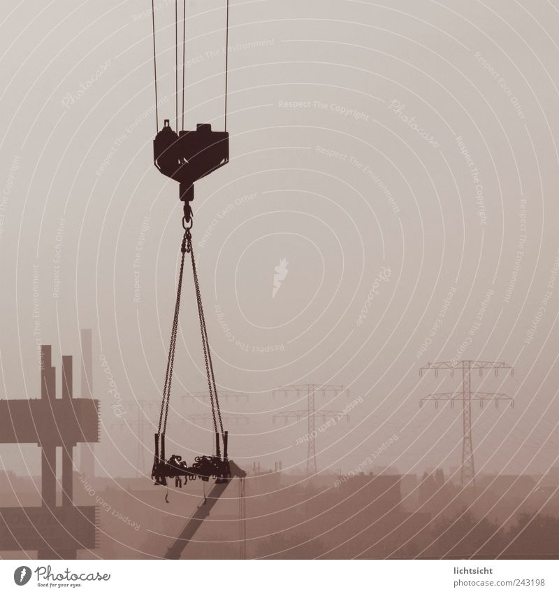 Sky City Gray Horizon Fog Gloomy Climate Industry Rope Construction site Skyline Factory Electricity pylon Chain Chimney Crane