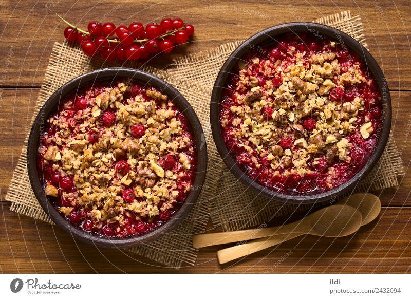 Redcurrant Crumble Natural Fruit Fresh Dessert Berries Horizontal Rustic Snack Baking Crisp Home-made