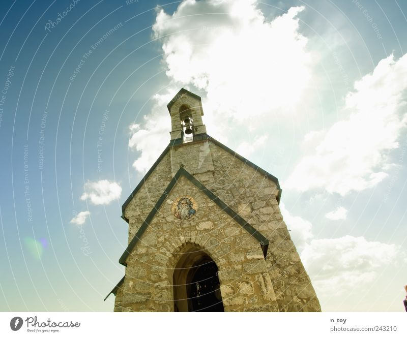 Sky Calm Clouds Wall (building) Wall (barrier) Religion and faith Architecture Church Tower Manmade structures Bavaria Belief God Christianity Blue sky House of worship