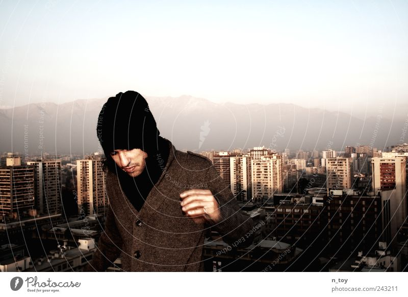 Human being Youth (Young adults) City Vacation & Travel Mountain Adults Masculine High-rise Discover Skyline Cap Coat Capital city Chile Bad weather