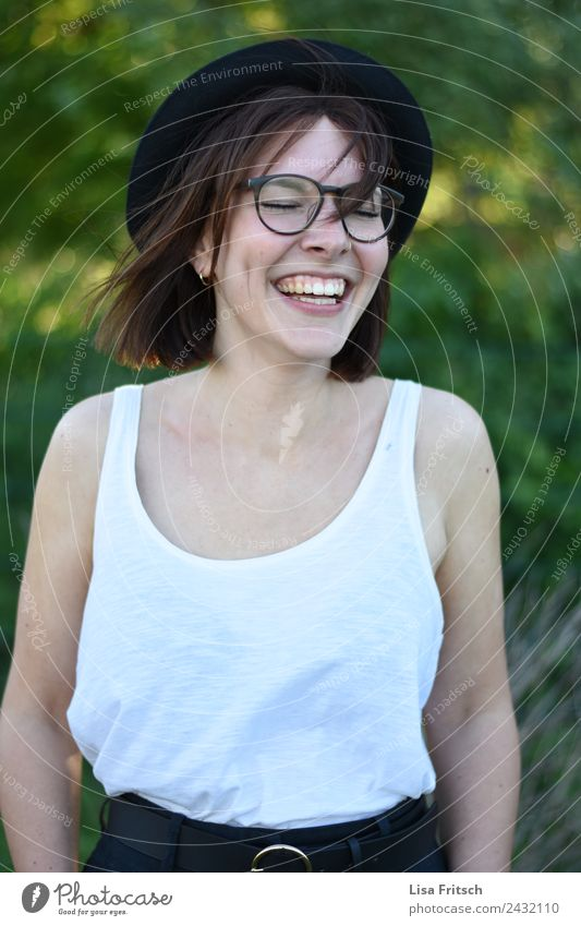 gorgeous free, young laughing woman, closed eyes, glasses Lifestyle Joy Beautiful Young woman Youth (Young adults) 1 Human being 18 - 30 years Adults Fashion
