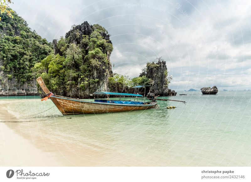 Longtail at the beach Vacation & Travel Trip Far-off places Summer Summer vacation Landscape Clouds Waves Coast Beach Bay Ocean Thailand Navigation Fishing boat