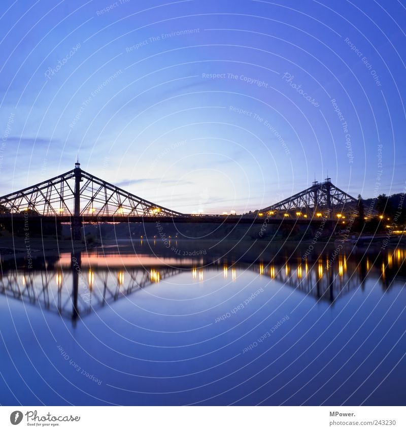 Sky Water Blue Calm Lamp Bridge River Dresden Square River bank Dusk Visual spectacle Symmetry Elbe Tourist Attraction Mirror image
