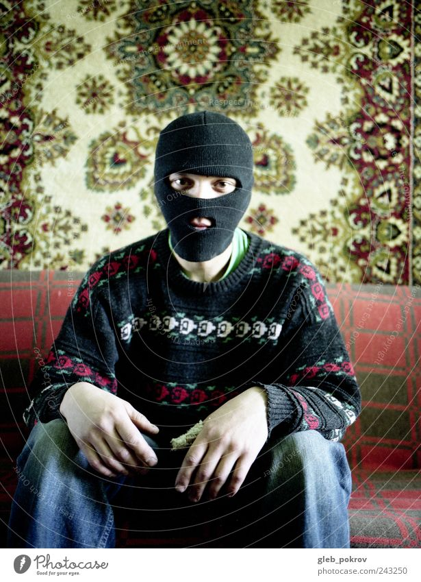 Doc #sweater Human being Young man Youth (Young adults) Chest 1 Clothing Jeans Sweater Balaclava Contact 645 ga Colour photo Dawn Deep depth of field