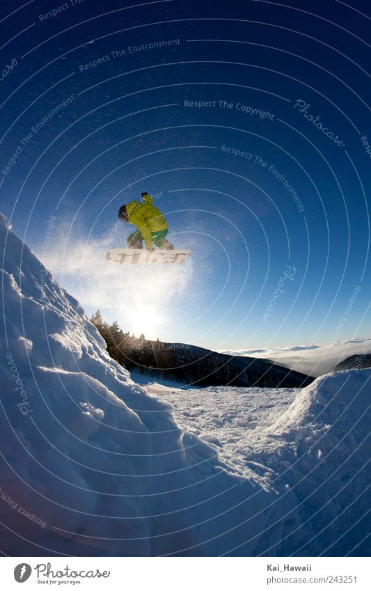 Snowboarding Sky Blue Green White Sun Clouds Winter Mountain Yellow Jump Free Happiness Tall Cool (slang) Snowcapped peak