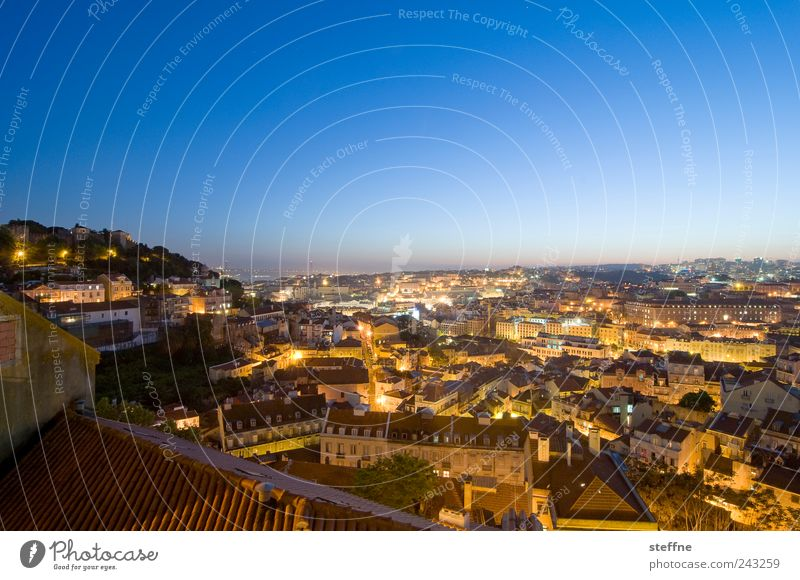 Summer House (Residential Structure) Esthetic Beautiful weather Skyline Lantern Capital city Cloudless sky Portugal Old town Lisbon Populated Sunrise Sea of light