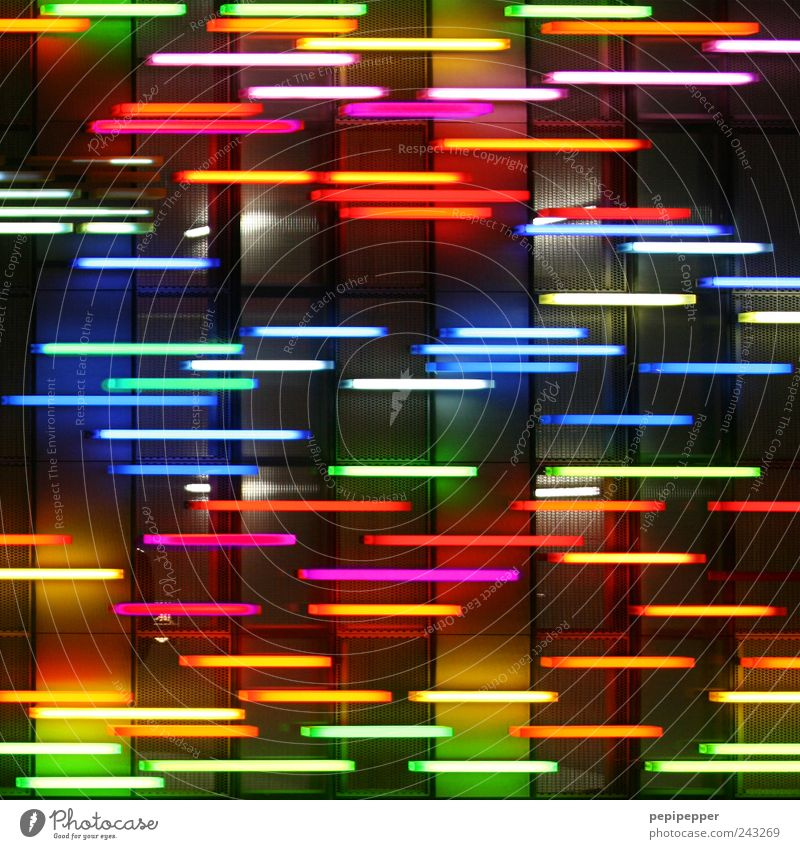 Beautiful Colour Wall (building) Wall (barrier) Lamp Line Facade Energy Crazy Stripe Illuminate Kitsch Capital city Abstract Multicoloured