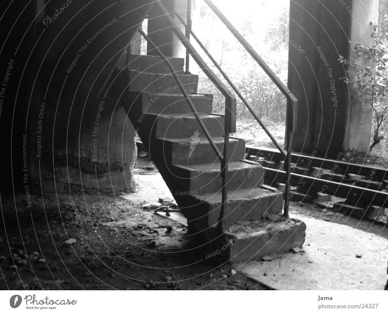 veteran Nostalgia Ruin Concrete Railroad tracks Mine Architecture Stairs Industrial Photography Black & white photo