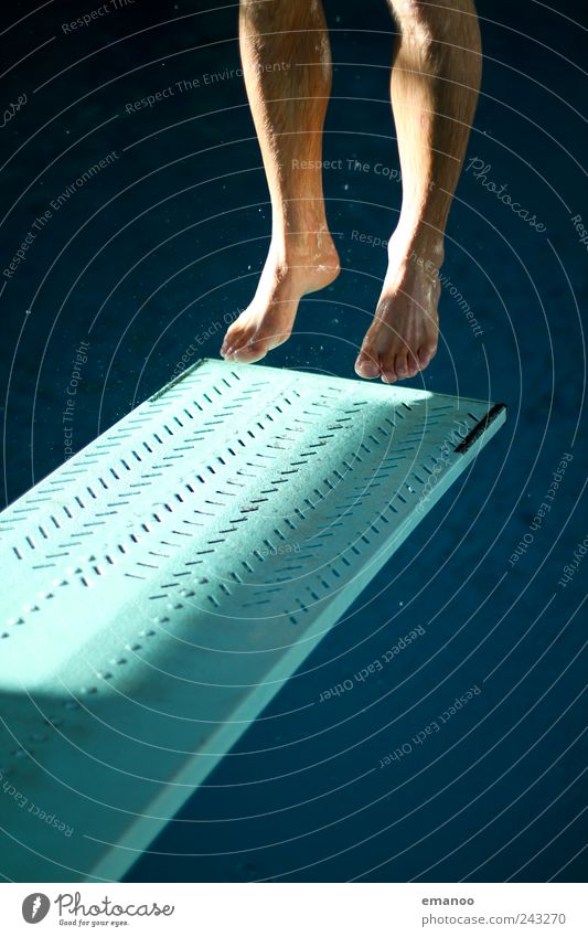 Human being Man Blue Water Joy Adults Sports Movement Jump Legs Feet Power Leisure and hobbies Flying Tall Swimming & Bathing