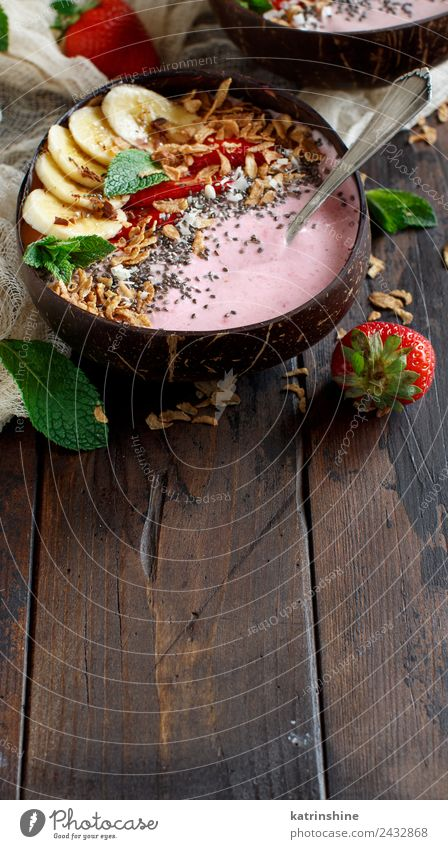 Wild berries smoothie bowls Yoghurt Fruit Dessert Nutrition Breakfast Vegetarian diet Diet Bowl Spoon Summer Fresh Gray Green Pink Red White background Berries
