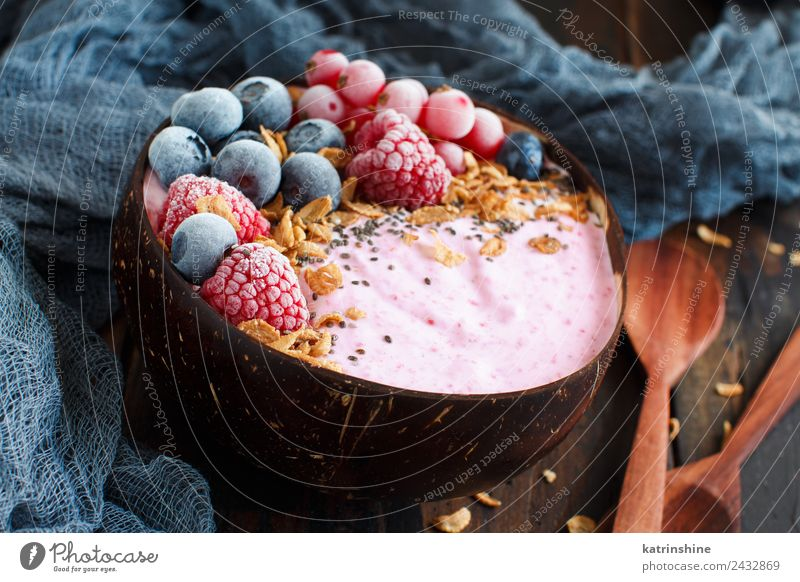 Wild berries smoothie bowls Summer White Red Pink Fruit Nutrition Fresh Breakfast Dessert Berries Bowl Diet Vegetarian diet Vitamin Spoon Vegan diet