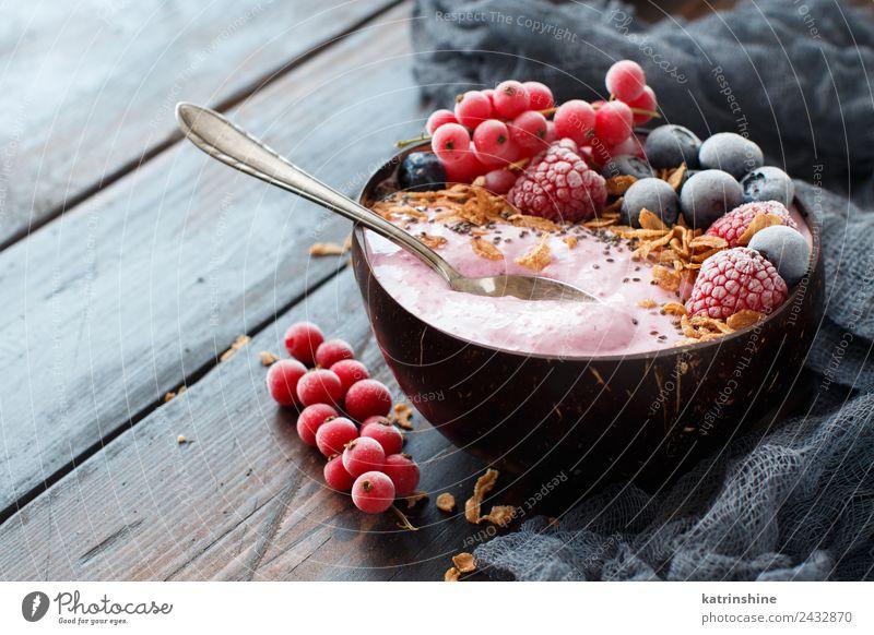 Wild berries smoothie bowls Summer White Red Copy Space Pink Fruit Nutrition Fresh Breakfast Dessert Berries Bowl Diet Vegetarian diet Vitamin Spoon