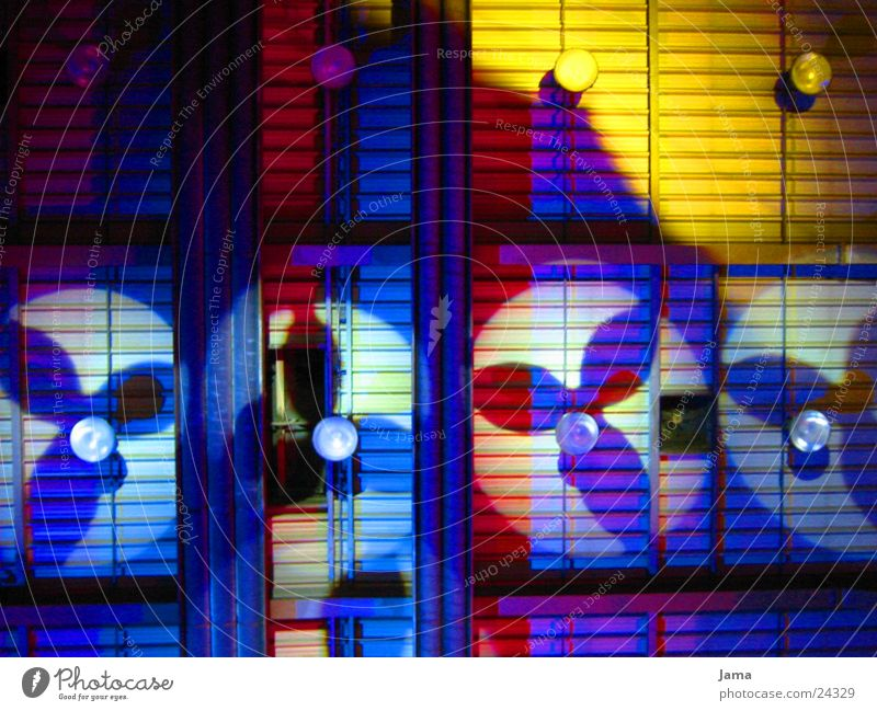 Blue Red Yellow Colour Light show Fan