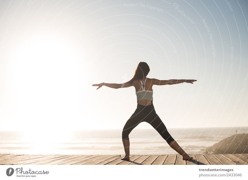 Women doing pilates on the beach Woman Human being Sky Vacation & Travel Nature Summer Beautiful Ocean Relaxation Beach Lifestyle Adults Happy Body Happiness