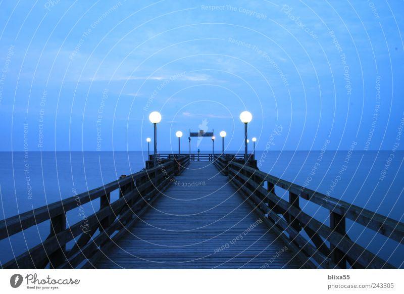 Sky Blue Summer Calm Germany Europe Bridge Night sky Manmade structures Baltic Sea Sea bridge Heiligendamm
