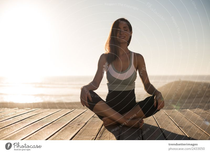 Women meditating on the beach Diet Lifestyle Happy Beautiful Body Wellness Relaxation Meditation Vacation & Travel Summer Beach Ocean Yoga Human being Woman