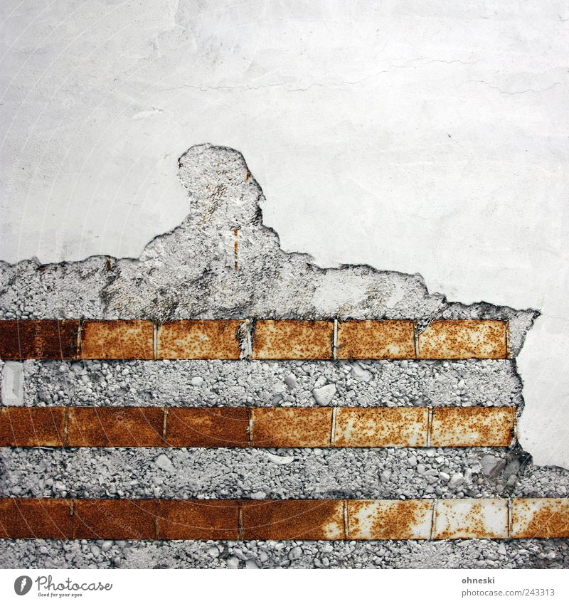 contrasts Manmade structures Building Architecture Wall (barrier) Wall (building) Plaster Concrete Steel Rust Old Decline Colour photo Exterior shot Abstract